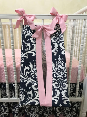 Diaper Stacker - Navy Damask and Light Pink