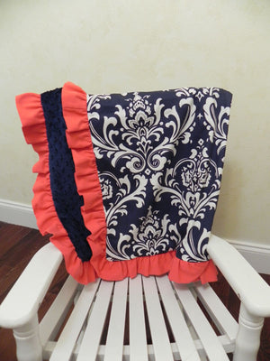 Navy Damask and Navy and Coral Baby Blanket with Ruffle