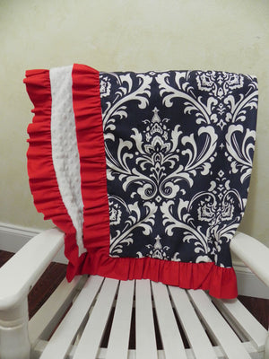 Navy Damask with White and Red Baby Blanket with Ruffle