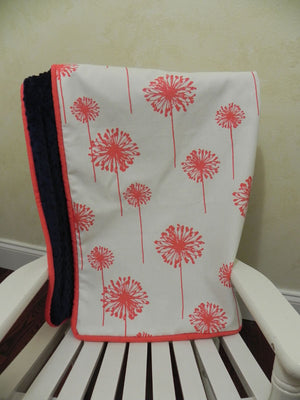 Coral Dandelion with Navy Baby Blanket