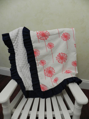 Coral Dandelion with White and Navy Baby Blanket with Ruffle