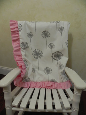 Gray Dandelion and Light Pink Baby Blanket with Ruffle