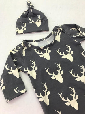 Gray Deer Head Coming Home Infant Newborn Gown