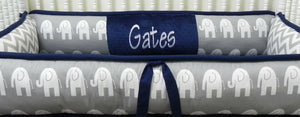 Custom Elephant Crib Bedding Set Drew - Boy Baby Bedding, Navy Blue and Gray Elephant Baby Bedding, Crib Bumpers