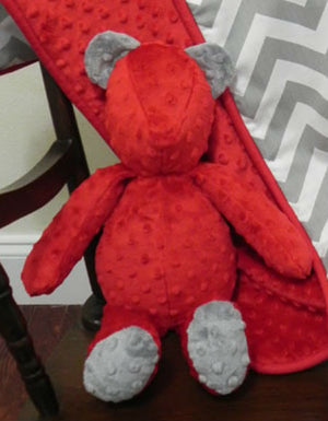 Snuggle Pal Bear - Red with Gray