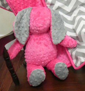 Snuggle Pal Bunny - Hot Pink with Gray