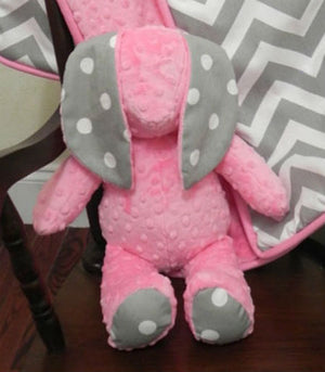 Snuggle Pal Bunny - Medium Pink with Gray Dots