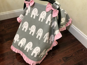 Car Seat Cover -Gray Elephant with Light Pink