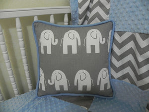 Gray Elephants with Light Blue Accent Pillow