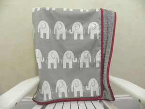Gray Elephant with Gray and Crimson Red Baby Blanket