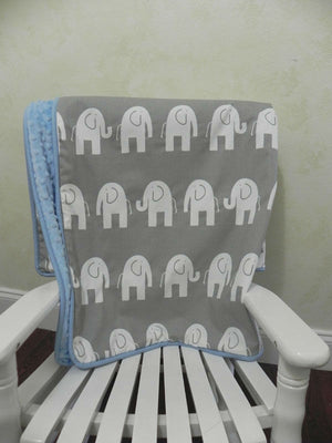 Gray Elephant and Light Blue Baby Blanket