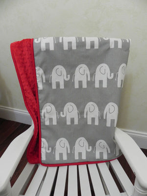 Gray Elephant and Red Baby Blanket