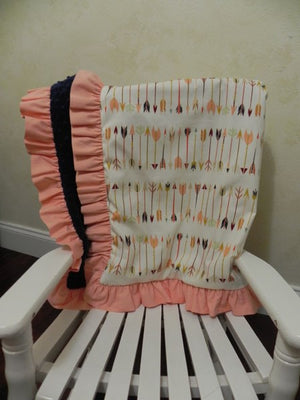 Fletching Arrows with Navy and Peach Baby Blanket with Ruffle
