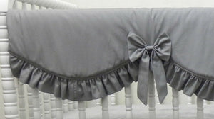 Girl Baby Bedding Set Giselle Gray - Girl Crib Bedding, Crib Rail Cover Set, Gray Baby Bedding
