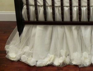 Girl Crib Bedding Set Giselle Ivory - Princess Baby Bedding, Ballerina Crib Bedding, Ivory Baby Bedding
