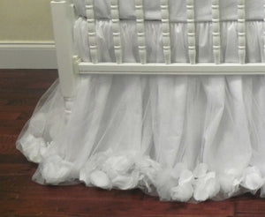 White Girl Crib Bedding Set Giselle - Princess Crib Bedding, Ballerina Baby Bedding, Crib Rail Cover