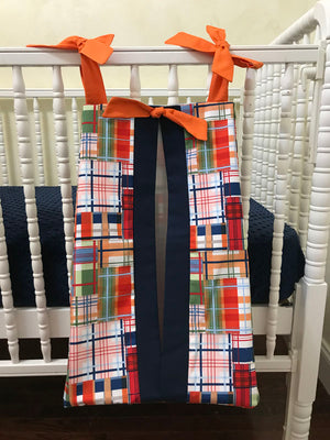Diaper Stacker - Coastal Plaid with Navy and Orange