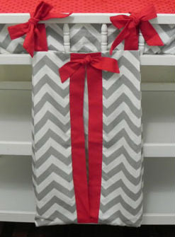 Diaper Stacker - Gray Chevron and Red