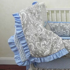 Gray Damask and Light Blue Baby Blanket with Ruffle
