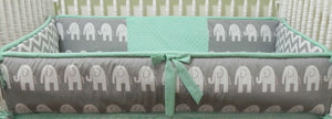 Elephant Crib Bedding Set Hartley -Gender Neutral Crib Bedding, Mint and Gray Elephant Baby Bedding, Crib Bumpers
