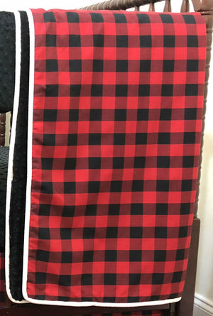 Red and Black Plaid Baby Bedding Set Henry- Red Buffalo Plaid Crib Bedding Set, Crib Rail Cover