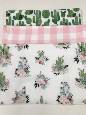 Baby Burp Cloth Set-Boho Cactus Burp Cloth, Pink Plaid, Cactus, Floral Cactus