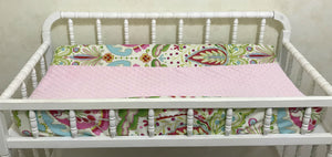 Changing Pad Cover - Kumari Gardens with Light Pink Minky