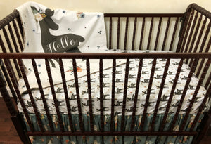 Girl Woodland Nursery Crib Bedding Set - Baby Girl Deer Crib Bedding