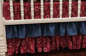 Western Girl Crib Bedding Set Jessie - Girl Baby Bedding, Western Crib Bedding, Denim and Red Bandana Crib Bedding