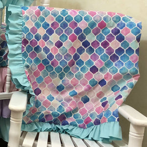 Pink and Aqua Mermaid Tile Crib Bedding Set - Girl Baby Bedding, Mermaid Bedding in Pink, Aqua, and Lavender