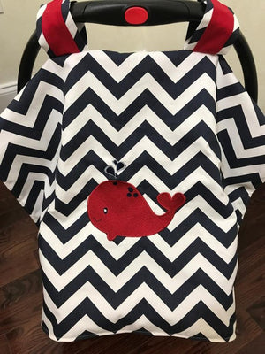 Car Seat Cover - Navy Chevron with Red Whale