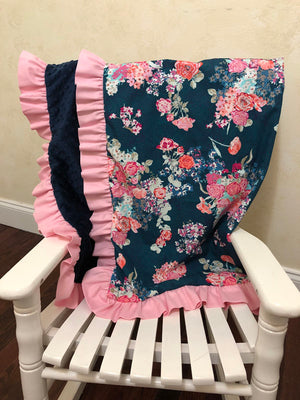 Navy Floral and Light Pink Baby Blanket with Ruffle