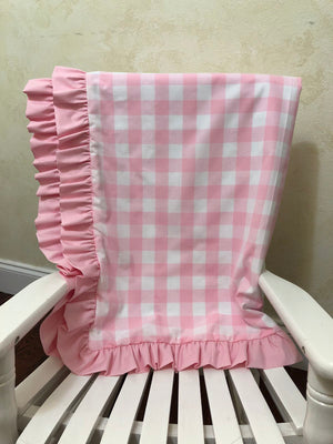 Light Pink Buffalo Plaid and White Baby Blanket with Ruffle