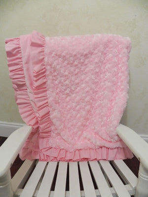 Light Pink Rose Minky Baby Blanket with Ruffle