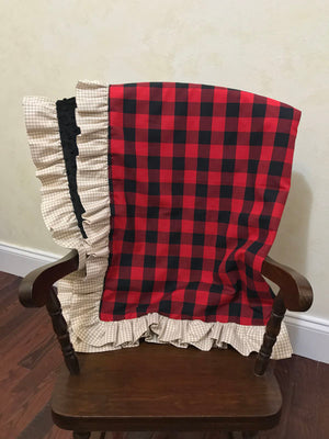 Red Plaid with Black Minky and Tan Gingham Baby Blanket with Ruffle