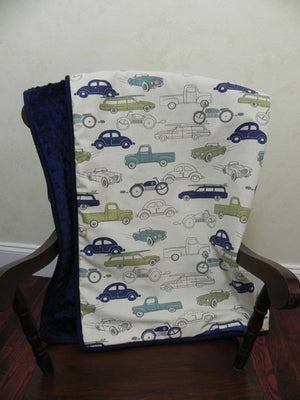 Vintage Cars with Navy Baby Blanket