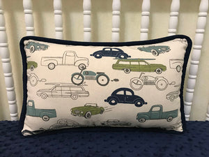 Vintage Cars and Trucks with Navy Accent Pillow