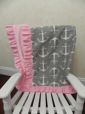 Gray Anchors with Light Pink Baby Blanket