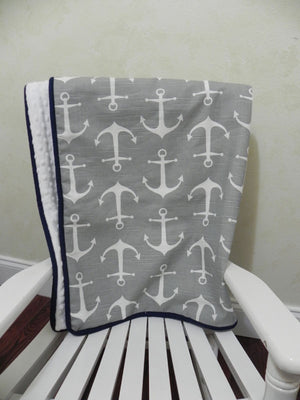 Gray Anchors with White and Navy Baby Blanket