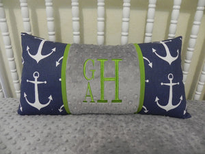 Navy Anchors with Gray and Lime Specialty Pillow