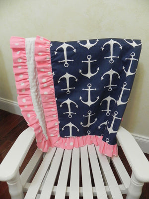 Navy Anchors with White and Pink Baby Blanket with Ruffle