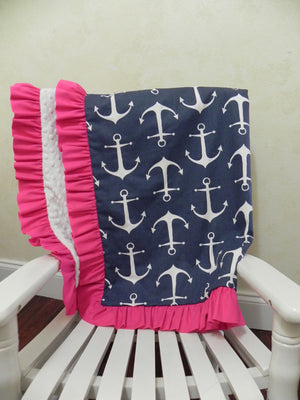 Navy Anchors with White and Hot Pink Baby Blanket with Ruffle