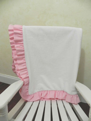 White Smooth Minky and Light Pink Baby Blanket with Ruffle