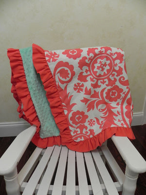 Coral Suzani with Mint and Coral Baby Blanket with Ruffle
