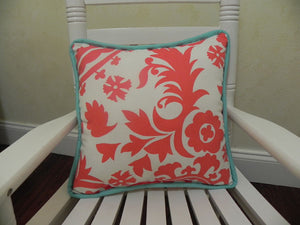 Coral Suzani with Light Turquoise Accent Pillow