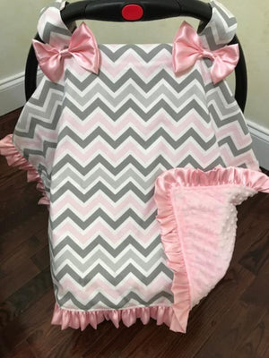 Car Seat Cover - Pink and Gray Chevron