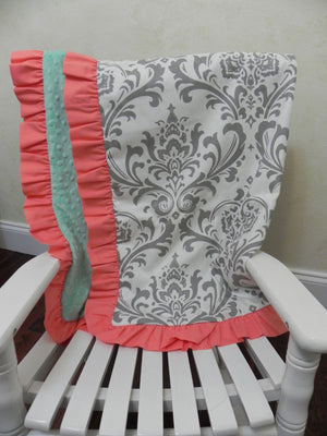 Gray Damask with Mint and Soft Coral Baby Blanket with Ruffle