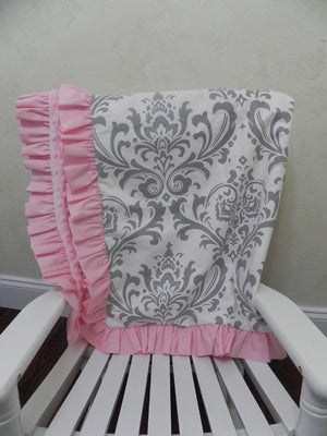 Gray Damask with Light Pink Baby Blanket with Ruffle