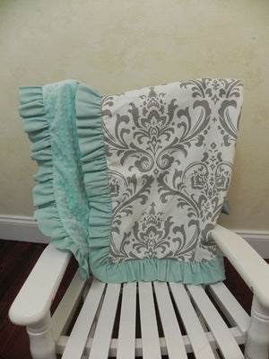 Gray Damask with Aqua Baby Blanket with Ruffle