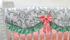Coral, Mint, and Gray Girl Crib Bedding Set Venetia - Girl Crib Bedding, Crib Rail Cover Set